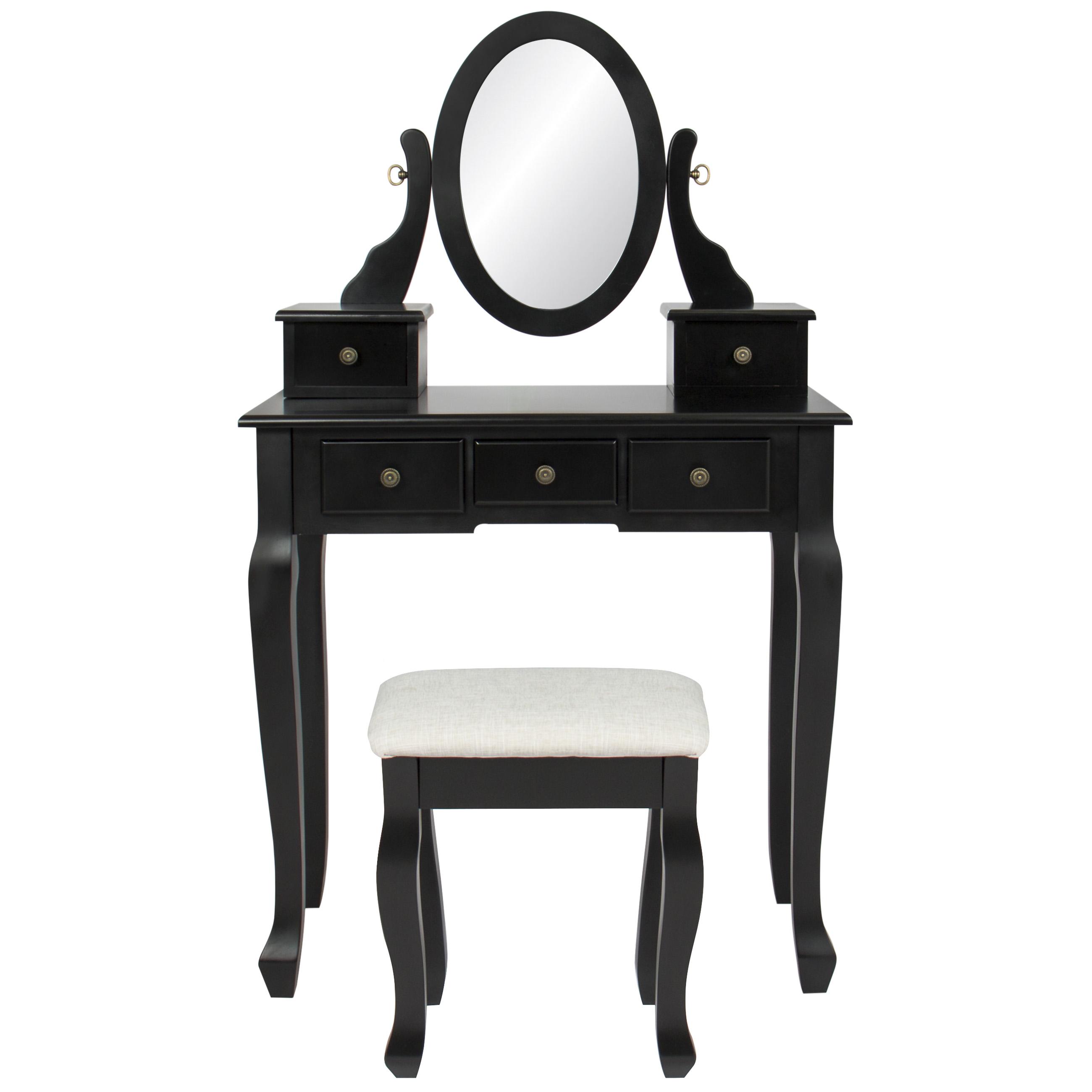 Bathroom Vanity Table Jewelry Makeup Bench Drawer Black