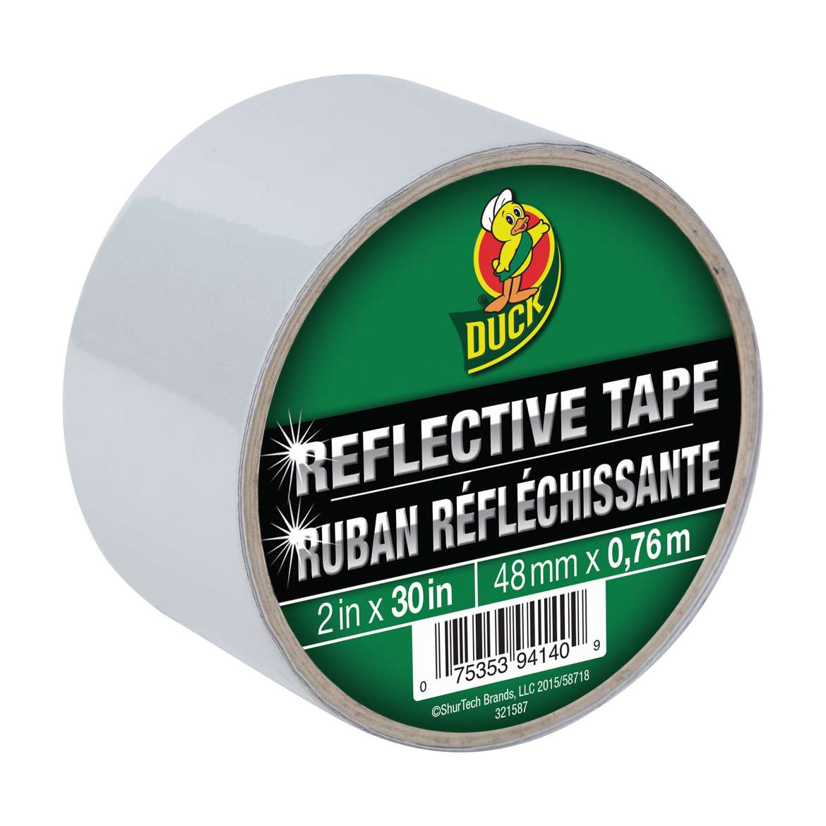 Duck® Brand Reflective Tape - White, 2 in. x 30 in. Image