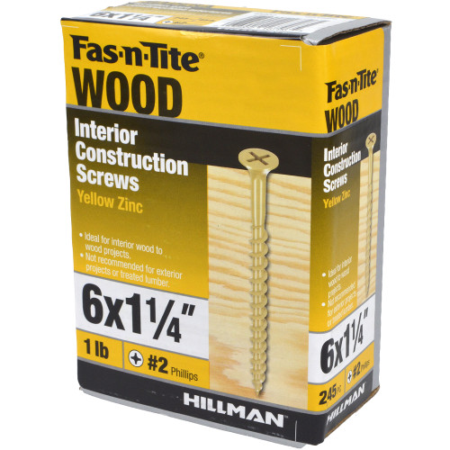 Fas-N-Tite Interior Yellow Zinc Construction Wood Screw, 1lb Box (#6 x 1-1/4