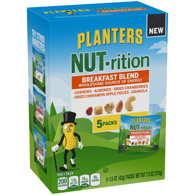 PLANTERS NUT-rition Breakfast Blend 7.5 oz Box (5-1.5 oz Packs)