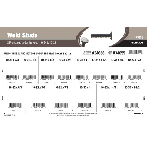 Weld Studs w/ 3 Projections Under the Head (#10-24 & #10-32) Assortment