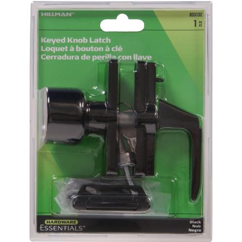 Hardware Essentials Black Keyed Knob Latch 1-3/8in