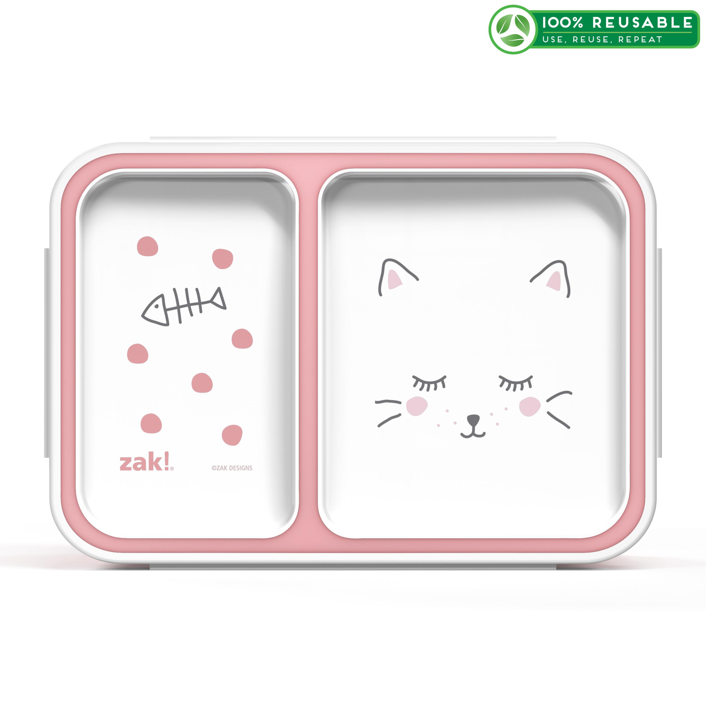 Soft Lines Dual-compartment Reusable Bento Box, Kitties slideshow image 1