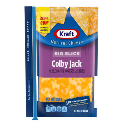 Kraft Big Slice Colby Jack Natural Cheese Slices 8 oz Film Wrapped