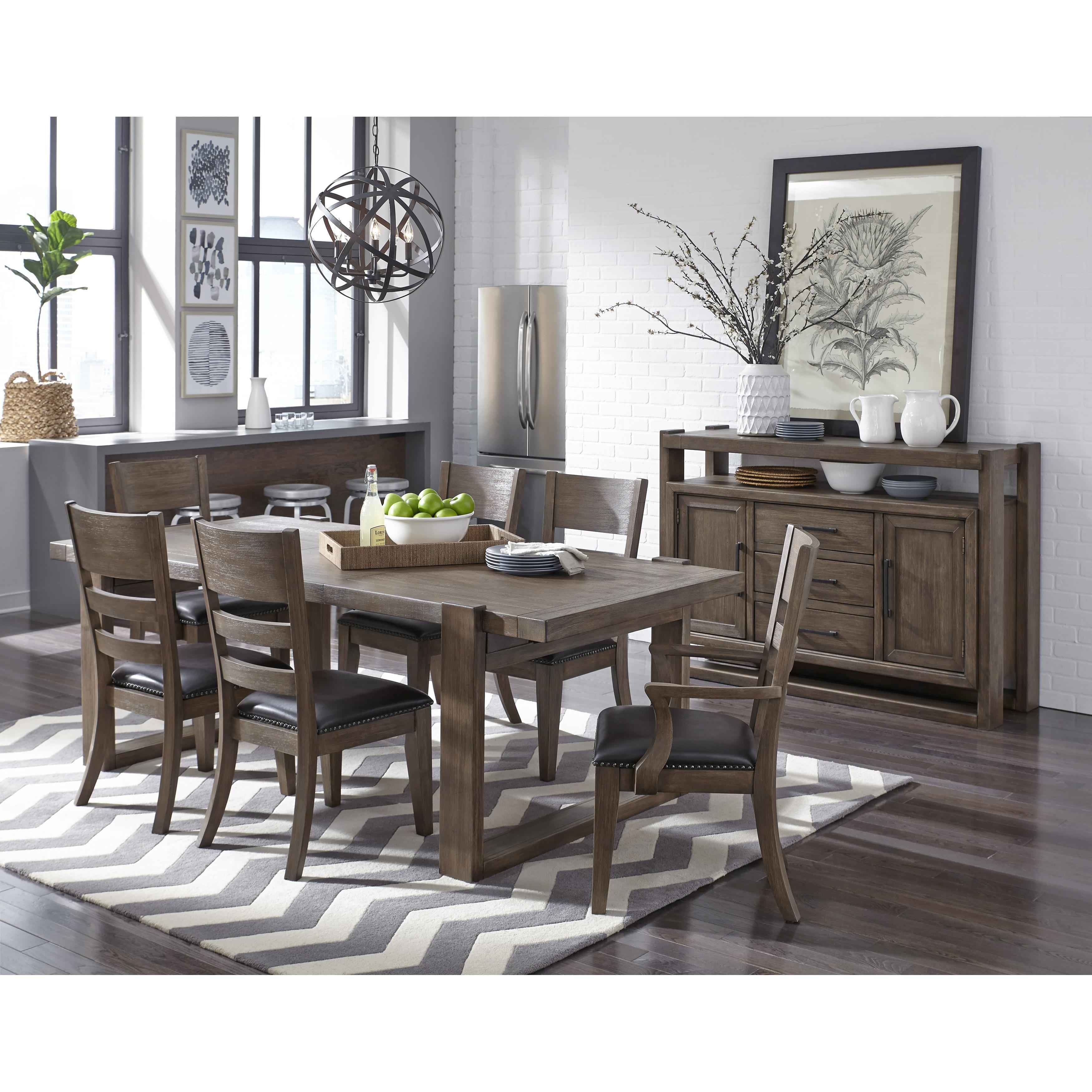 Hops Hard Wood Mission Dining Room Set Trestle Table & 4