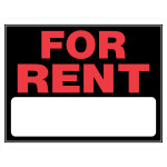 "Plastic For Rent Sign, 15"" x 19"""