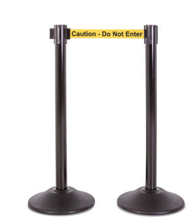Premium Steel Stanchion - Black with Caution Belt 1