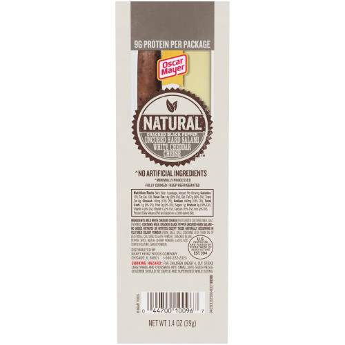 Oscar Mayer Natural Cracked Black Pepper Uncured Hard Salami & White Cheddar Cheese, 1.4 oz Package