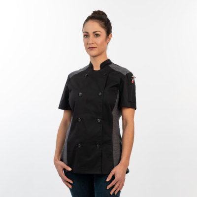 Womens Slim Short Sleeve Quick Cool Stretch Chef Coat-Chefwear