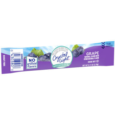 Crystal Light On-The-Go Sugar-Free Grape Energy Drink Mix with Caffeine 10 - 0.11 oz Wrappers