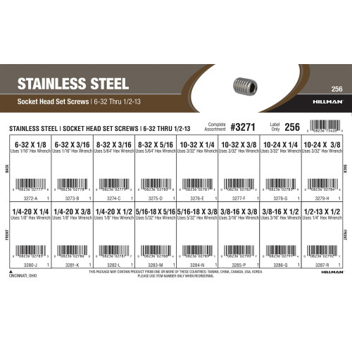 Stainless Steel Socket-Head Set Screws Assortment (#6-32 thru 1/2