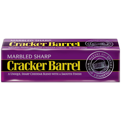 Cracker Barrel Marbled Sharp Cheddar Cheese Chunk 8 oz Wrapper