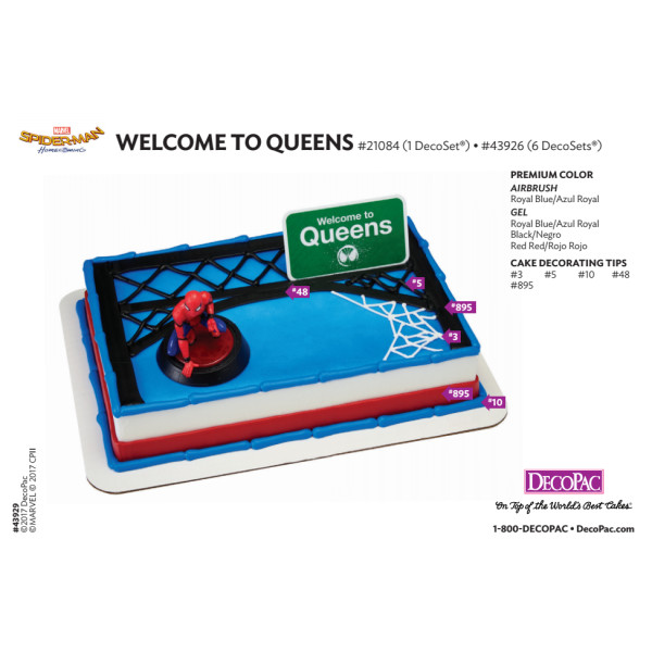 Spider-Man Homecoming Welcome to Queens Cake Decorating Instruction Card