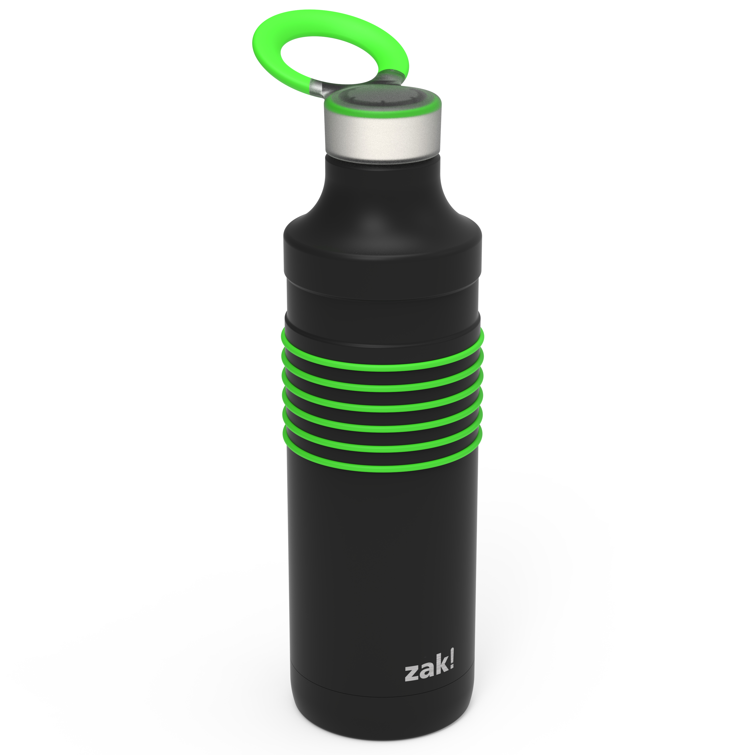 HydraTrak 22 ounce Vacuum Insulated Stainless Steel Tumbler, Black with Green Rings slideshow image 2
