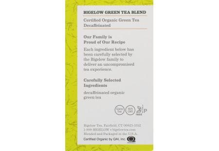 Ingredient panel of Organic Green Tea Decaf Tea box of 40 tea bags