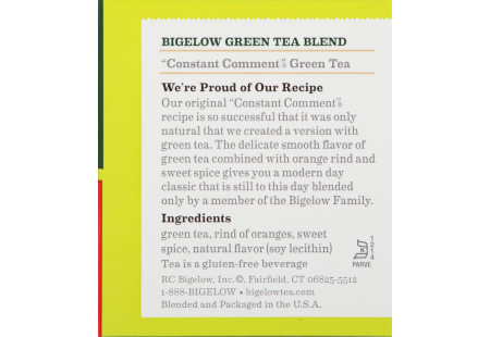 Ingredient panel  of Constant Comment Green Tea box