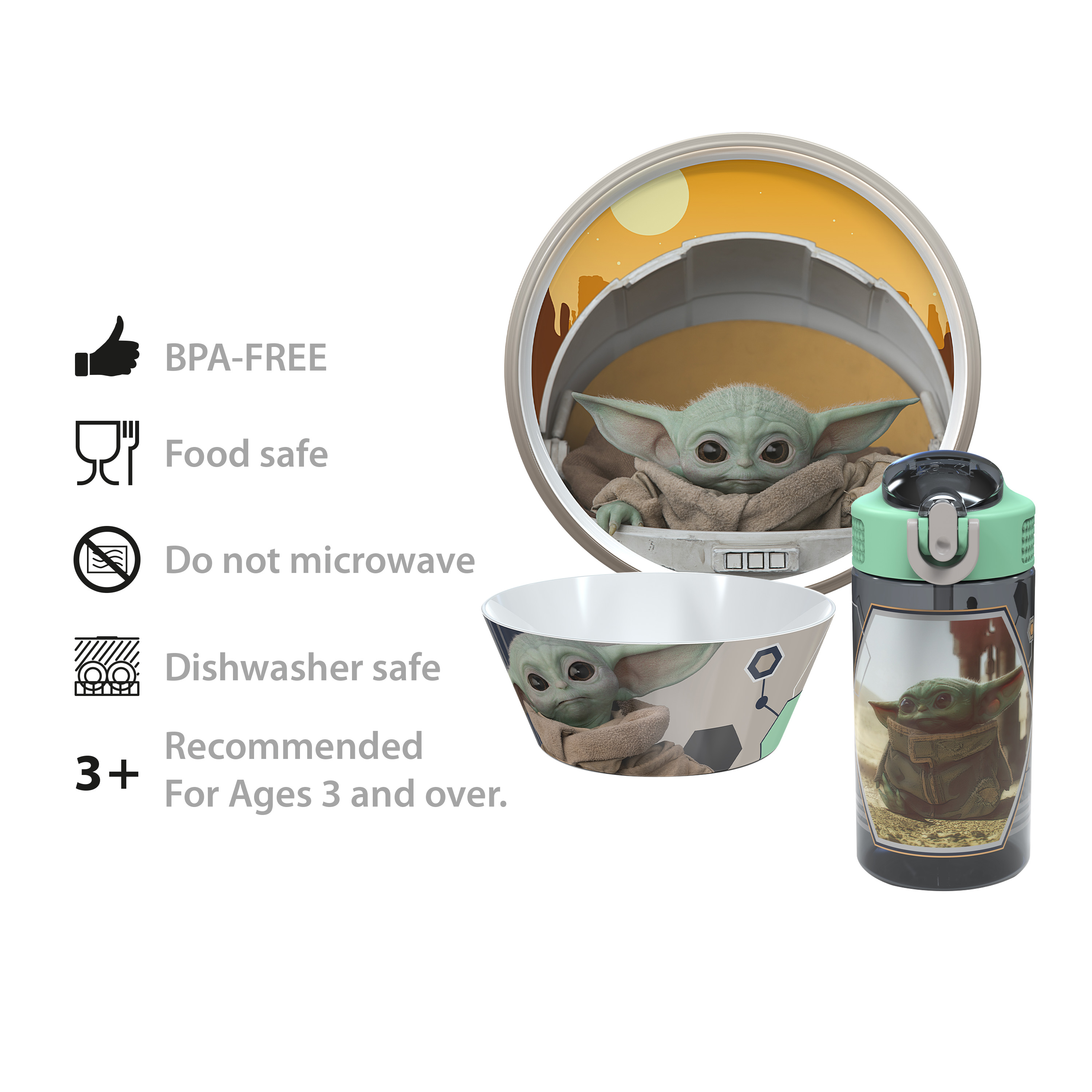 Star Wars: The Mandalorian Plate, Bowl and Water Bottle, The Child (Baby Yoda), 3-piece set slideshow image 15