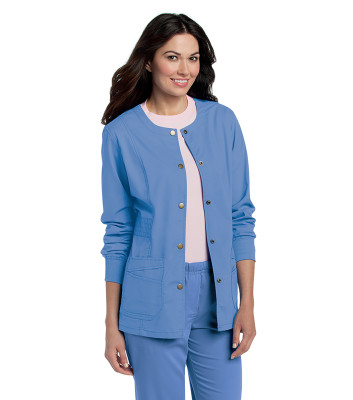 Landau Prewashed Warm-up Scrub Jacket for Women: Modern Tailored Fit, Stretch, 4 Pockets, Knit Cuff, Medical 3035-