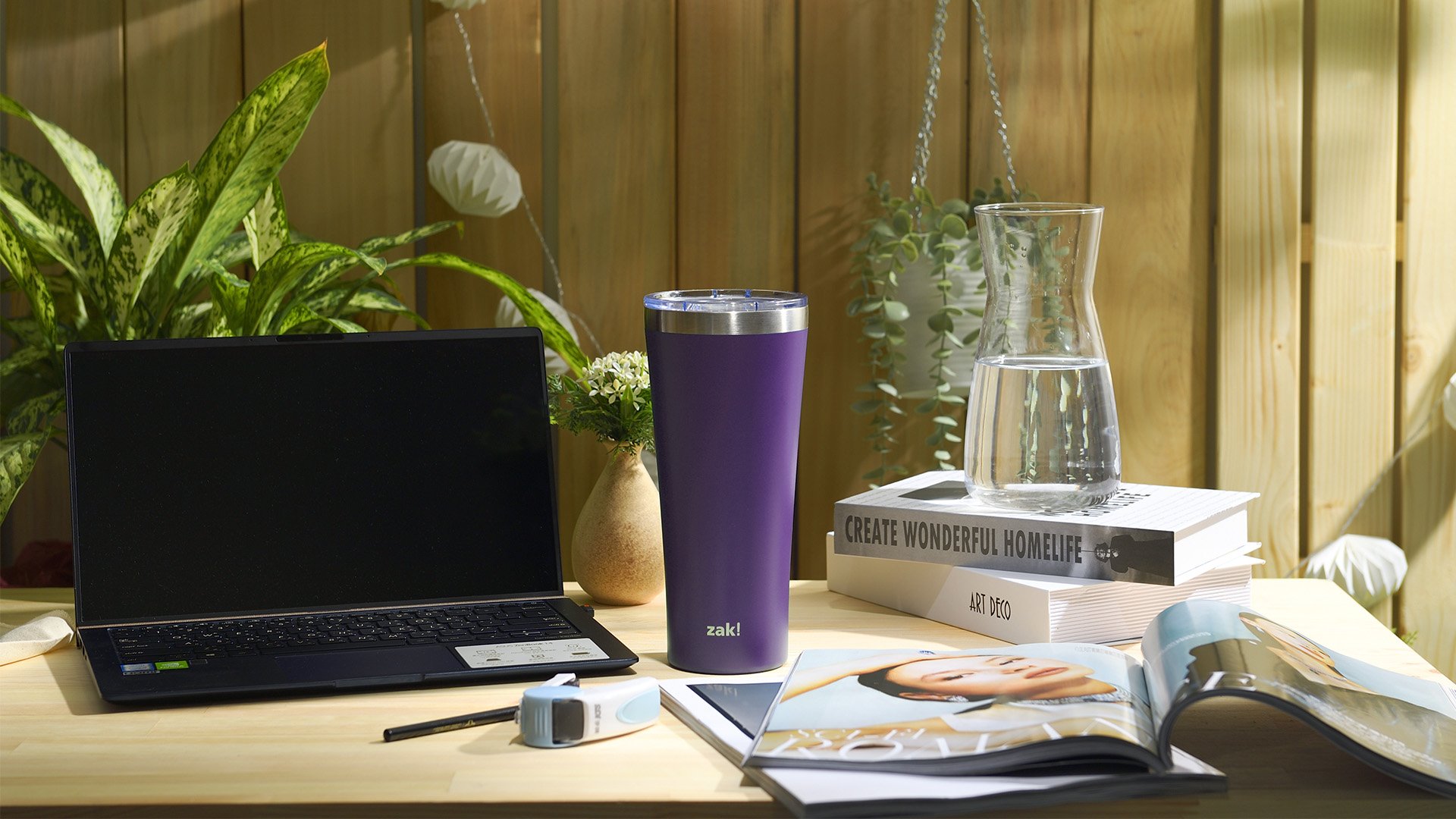 Alpine 30 ounce Stainless Steel Vacuum Insulated Tumbler with Straw, Viola slideshow image 7
