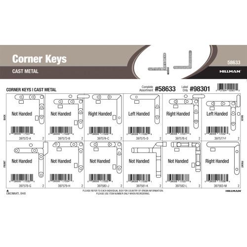 Cast-metal Corner Keys Assortment (1/5