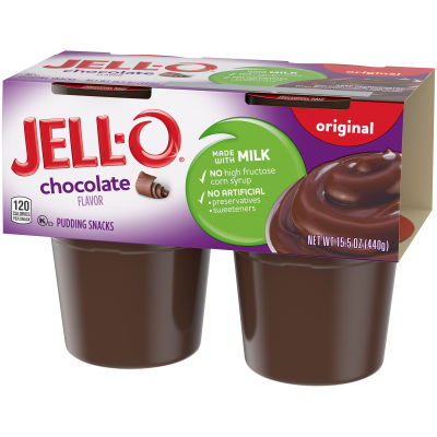 Jell-O Ready to Eat Sugar Sweetened Chocolate Pudding Snack, 15.5 oz Sleeve (4 Cups)