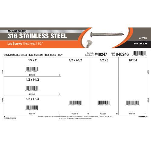 Marine-Grade #316 Stainless Steel Hex-Head Lag Screws Assortment (1/2