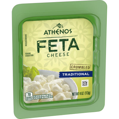 Athenos Traditional Feta Cheese Crumbles 4 oz Tub