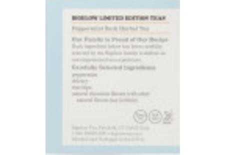 Ingredient panel of Peppermint Bark Herbal Tea Box
