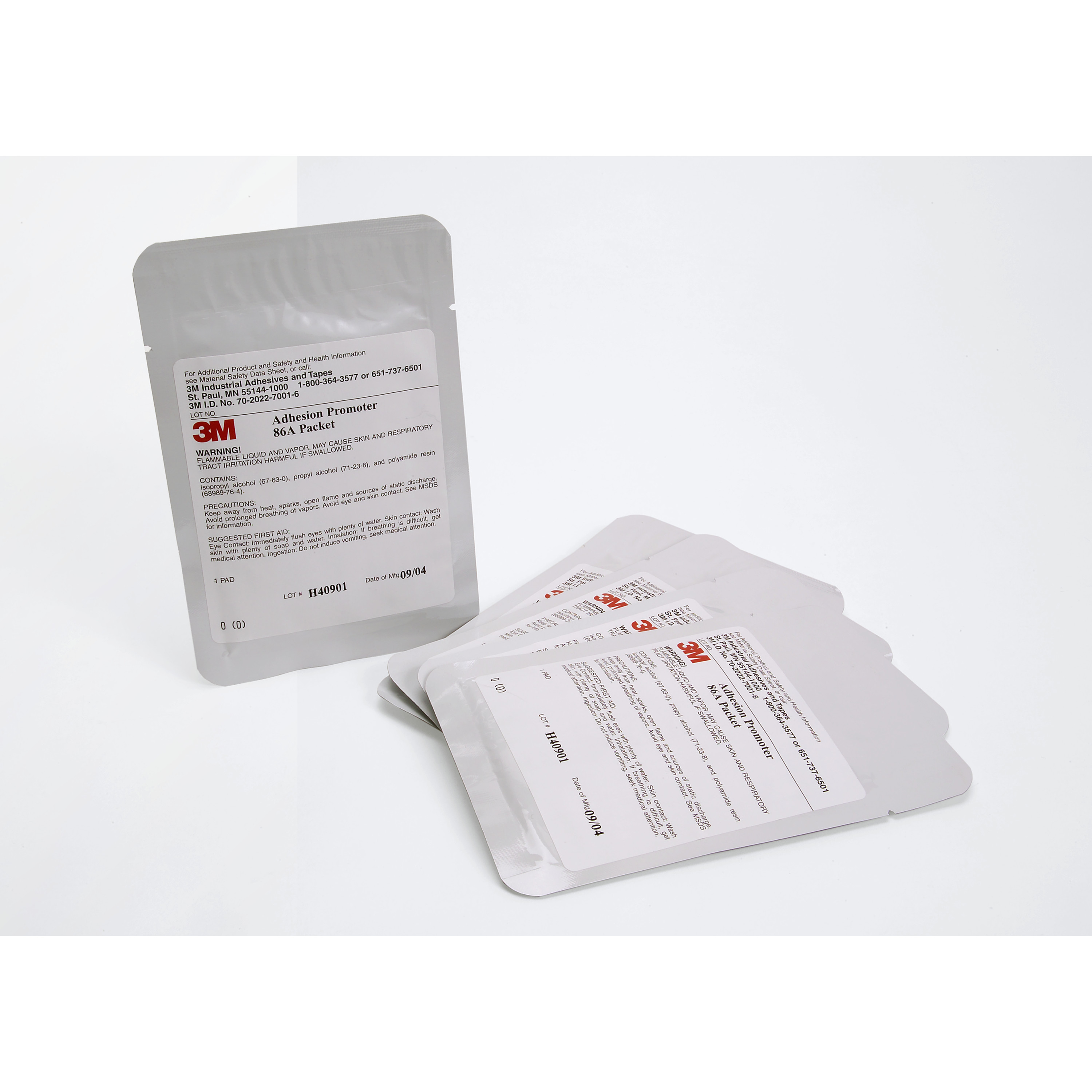3M™ Adhesion Promoter 86A Transparent, 7 in x 7 in, 5 Pads/Pack, 100 Pack/Case
