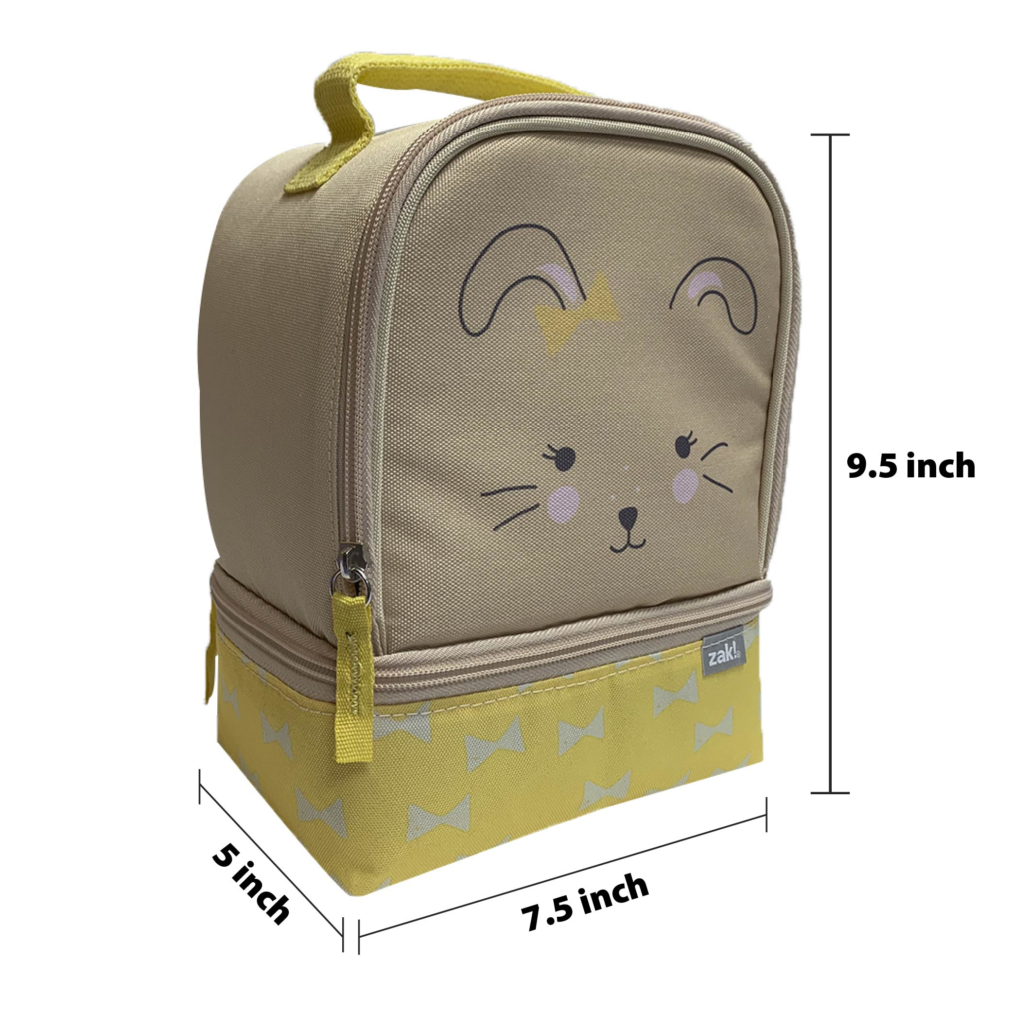 Soft Lines 2-compartment Reusable Insulated Lunch Bag, Bunnies slideshow image 4