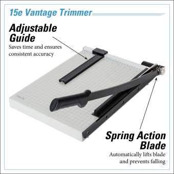 Dahle Vantage® 15e Trimmer InfoGraphic - Adjustable Guide
