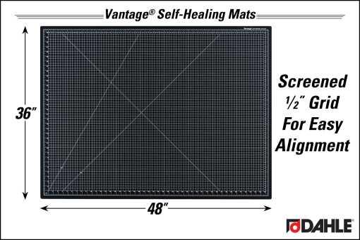 "Dahle Vantage® 36"" x 48"" Self-Healing Cutting Mat, Black - InfoGraphic"