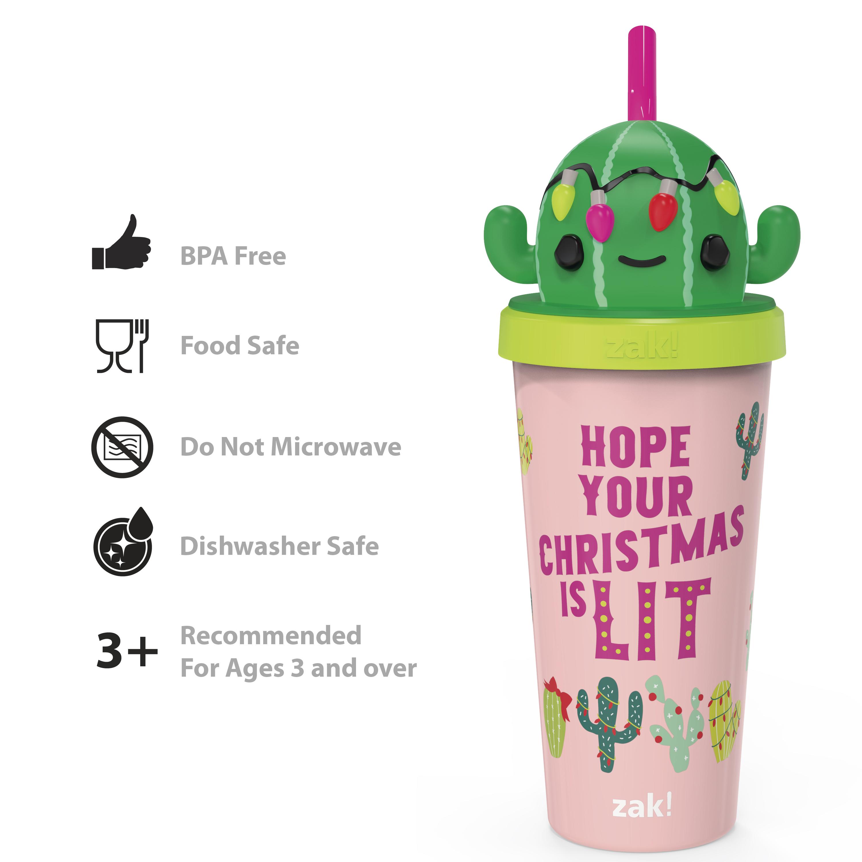 Zak Holiday 18 ounce Reusable Plastic Tumbler, Cactus slideshow image 4