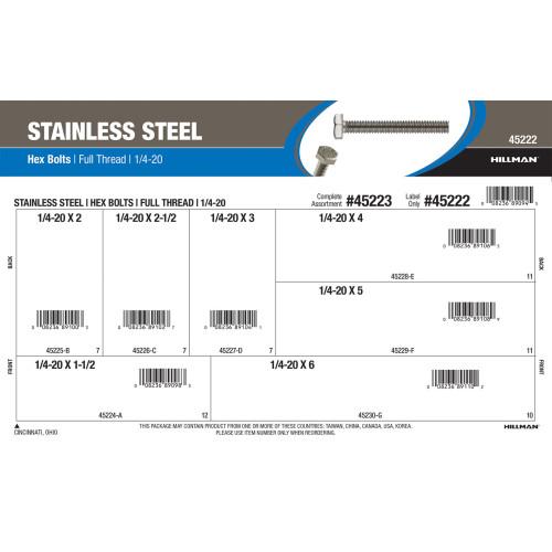 Full-Thread Stainless Steel Hex Bolts Assortment (1/4