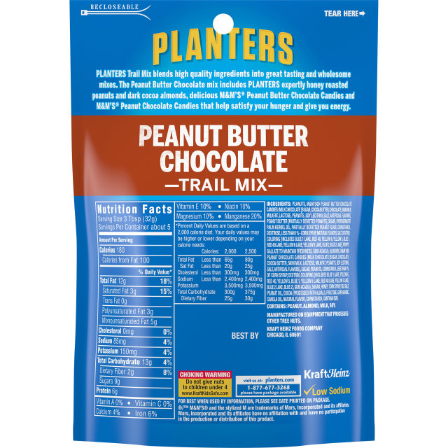 PLANTERS Trail Mix Peanut Butter Chocolate 6 oz Bag
