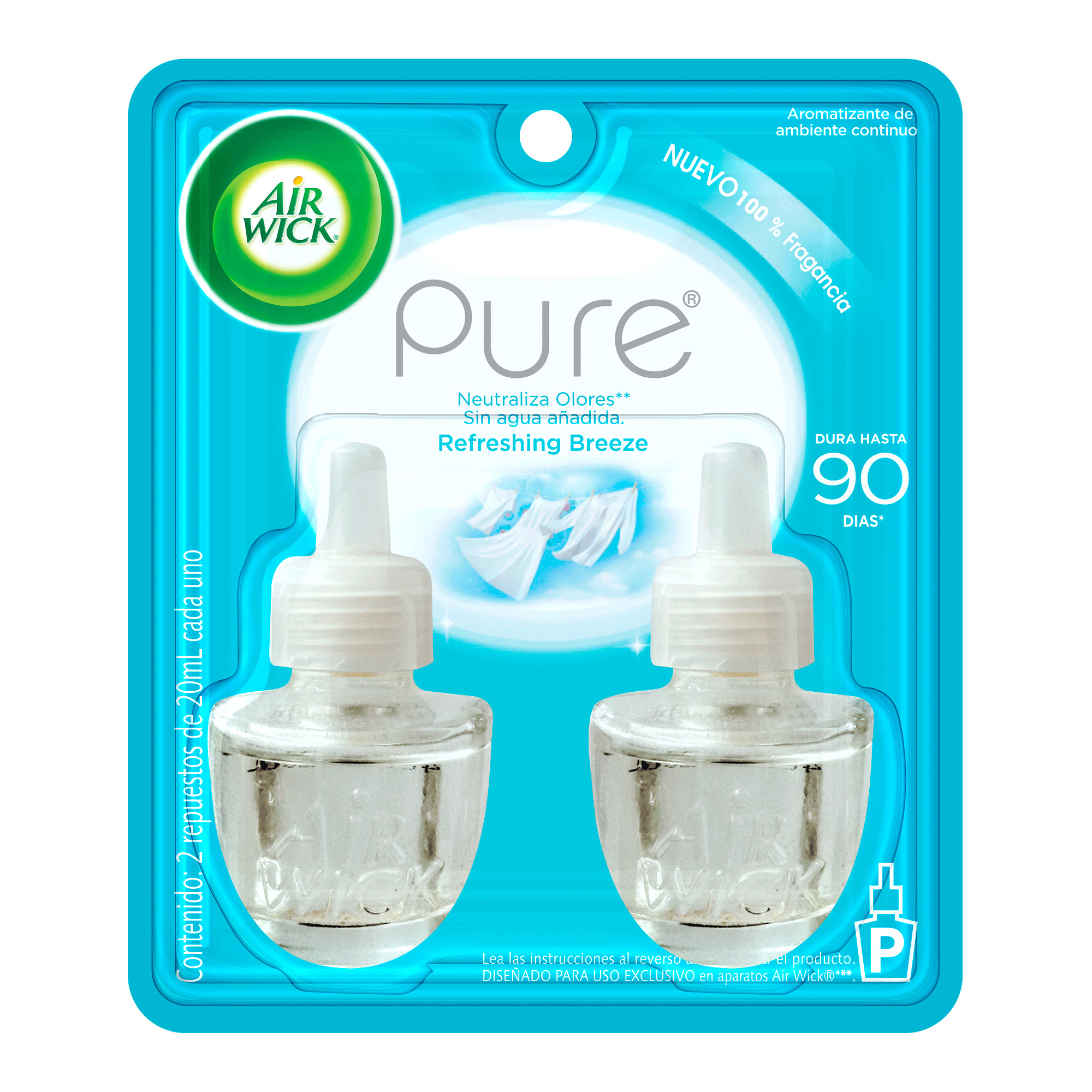 AIR WICK® AROMATIZANTE DE AMBIENTE CONTINUO REFRESHING BREEZE, 2 REPUESTOS DE 20 mL C/U