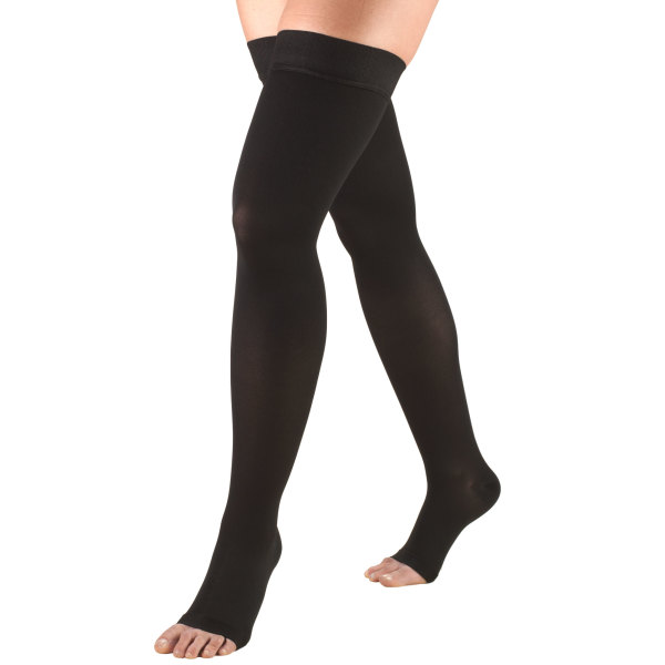 0848 Thigh High Open Toe Stockings in Black