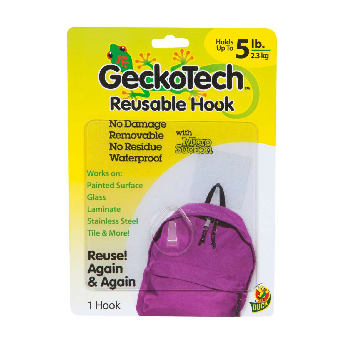 GeckoTech™ Removable Hook - Clear, Holds up to 5 lb. Image