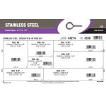 "Stainless Steel Screw Eyes Assortment (#0 Thru 3/8"")"
