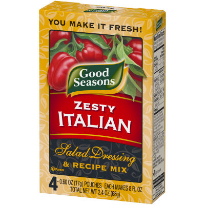 Good Seasons Zesty Italian Dry Salad Dressing and Recipe Mix 0.7oz 4 pack