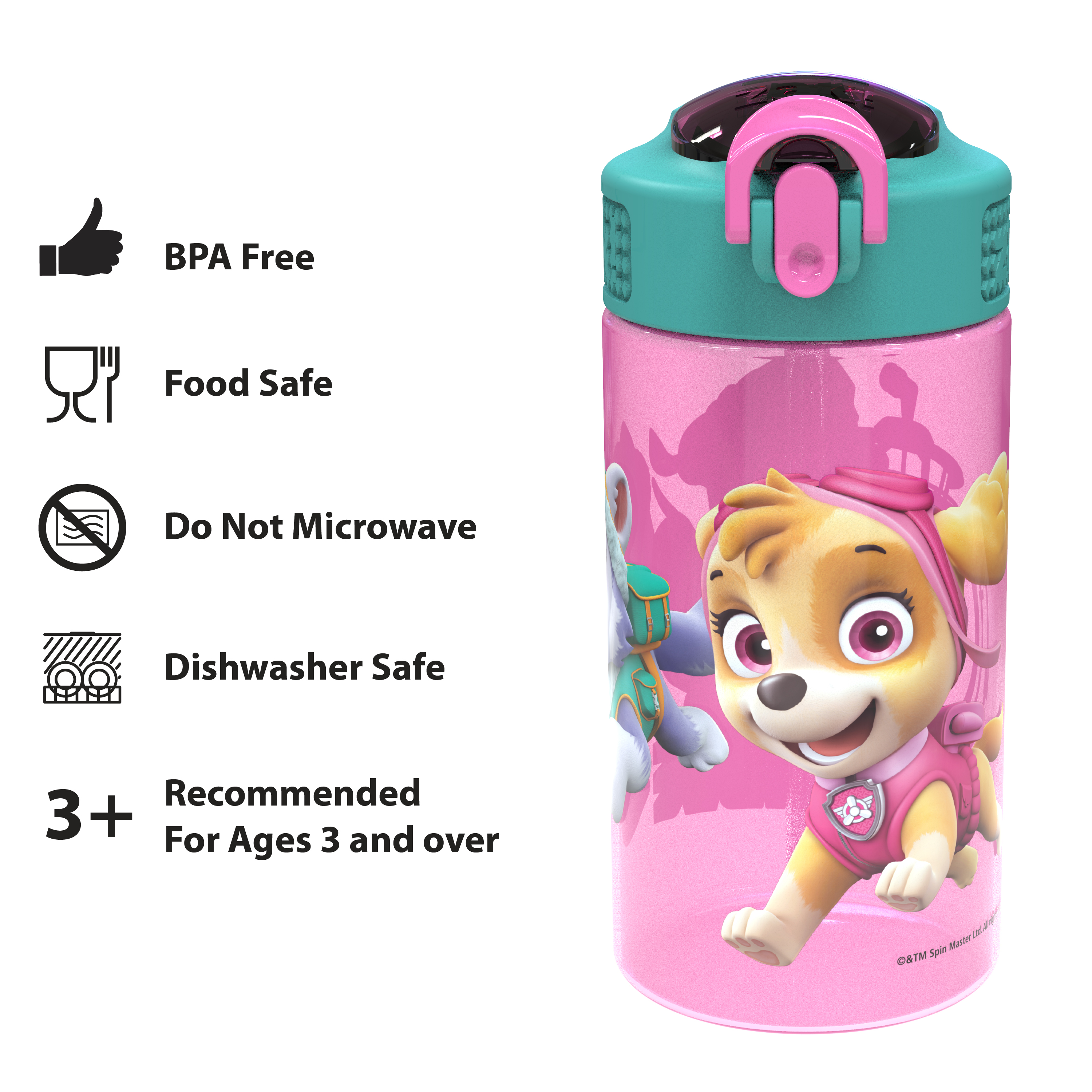 Paw Patrol 16 ounce Reusable Plastic Water Bottle with Straw, Skye, 2-piece set slideshow image 4