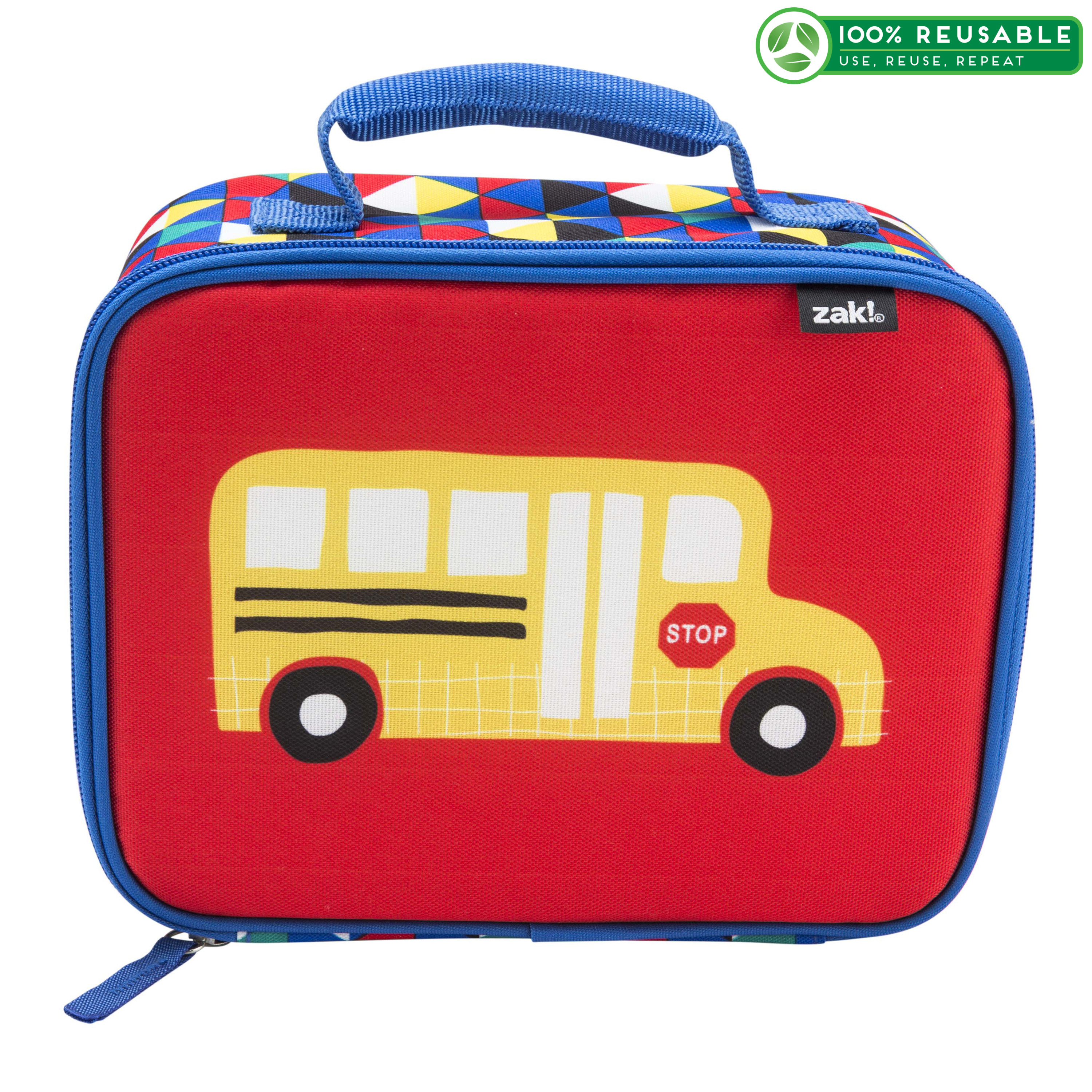 Grid Lock Insulated Reusable Lunch Bag, Buses slideshow image 1