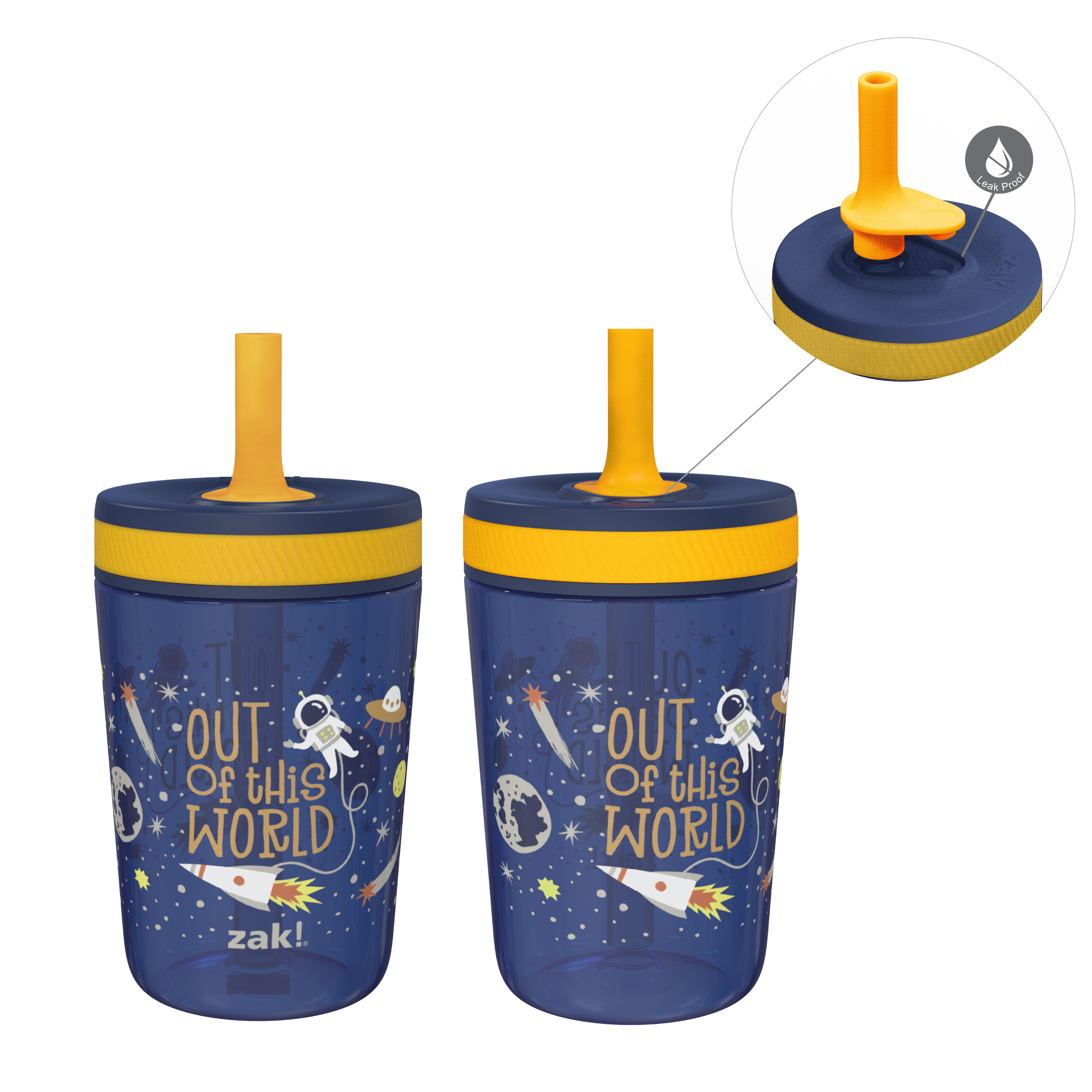 Zak Hydration 15  ounce Plastic Tumbler with Lid and Straw, Outer Space, 2-piece set image