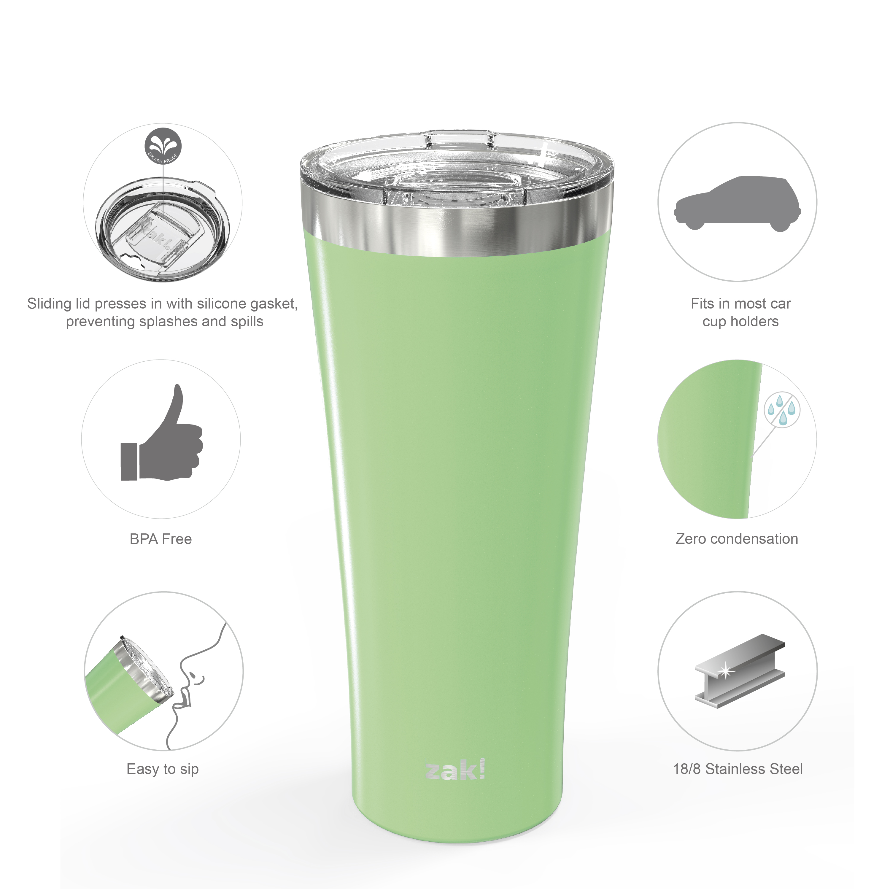 Alpine 30 ounce Stainless Steel Vacuum Insulated Tumbler with Straw, Neo Mint slideshow image 4