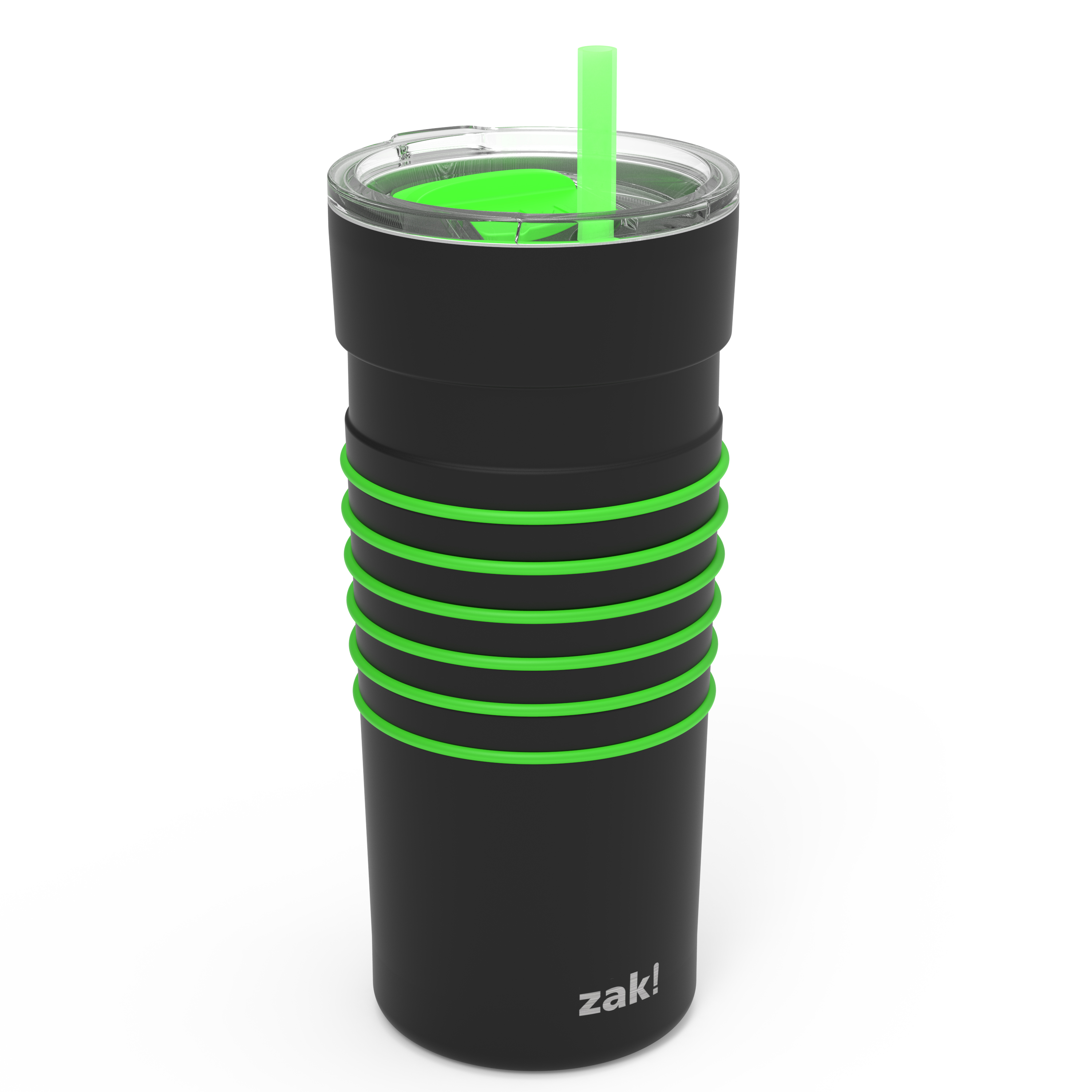 HydraTrak 20 ounce Vacuum Insulated Stainless Steel Tumbler, Black with Green Rings slideshow image 2
