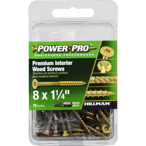 Power Pro Premium Interior Wood Screws #8 x 1-1/4