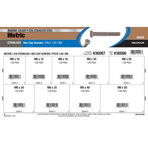 Metric 316 Stainless Steel Hex Cap Screw Assortment (M6)