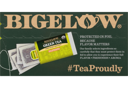 Top of Organic Green Tea Decaf Tea box of 40 tea bags
