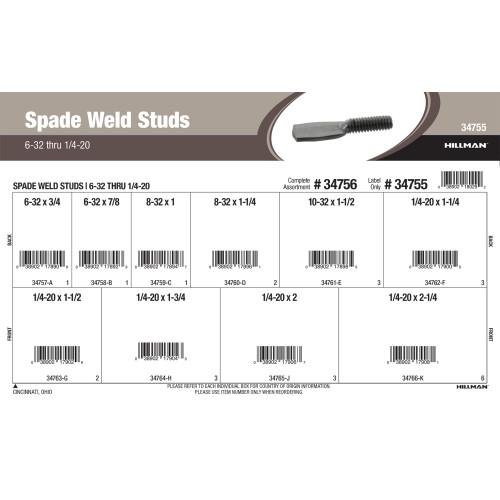 Spade Weld Studs Assortment (#6-32 thru 1/4