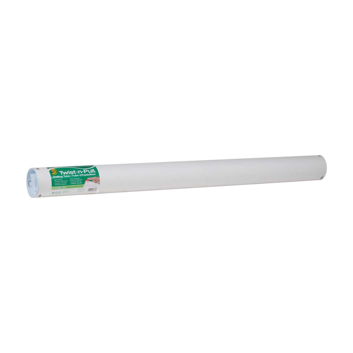 Duck® Brand Twist-n-Pull® Mailing Tube - White, 3 in. x 36 in. Image